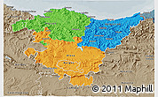 Political 3D Map of País Vasco, semi-desaturated