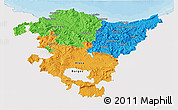 Political 3D Map of País Vasco, single color outside