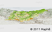 Physical Panoramic Map of Guipúzcoa, lighten, semi-desaturated