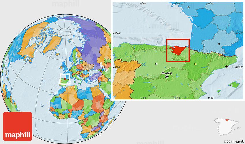 Political Location Map Of Pais Vasco