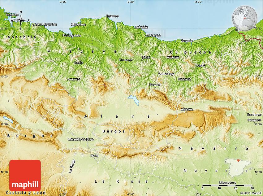 Physical Map Of Pais Vasco