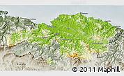 Physical 3D Map of Viscaya, semi-desaturated