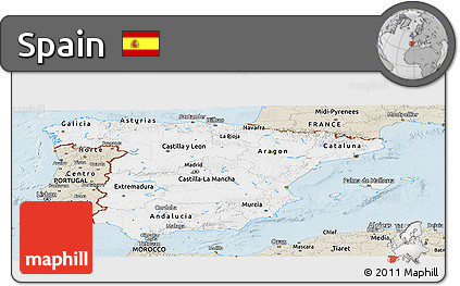 Classic Style Panoramic Map of Spain