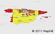 Flag Panoramic Map of Spain, flag aligned to the middle