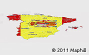 Flag Panoramic Map of Spain, flag rotated