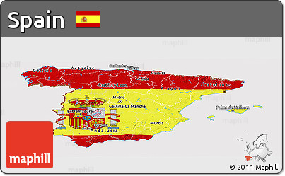 Flag Panoramic Map of Spain