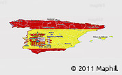 Flag Panoramic Map of Spain