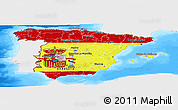 Flag Panoramic Map of Spain, single color outside, bathymetry sea