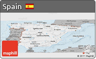 Gray Panoramic Map of Spain