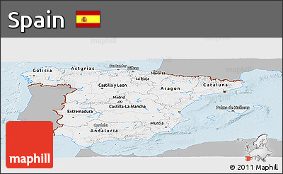 Gray Panoramic Map of Spain, single color outside