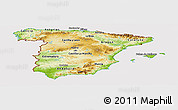 Physical Panoramic Map of Spain, cropped outside