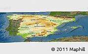 Physical Panoramic Map of Spain, darken