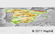 Physical Panoramic Map of Spain, desaturated