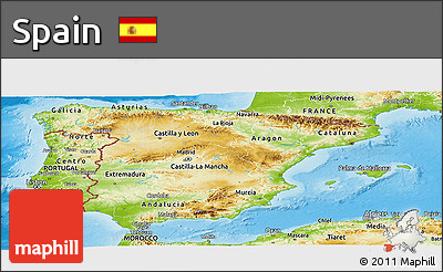Physical Panoramic Map of Spain