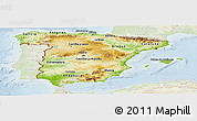 Physical Panoramic Map of Spain, lighten