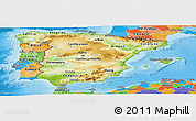 Physical Panoramic Map of Spain, political outside, shaded relief sea