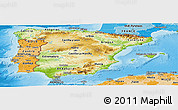 Physical Panoramic Map of Spain, political shades outside, shaded relief sea