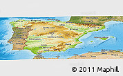 Physical Panoramic Map of Spain, satellite outside, shaded relief sea