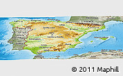 Physical Panoramic Map of Spain, semi-desaturated, land only