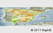 Physical Panoramic Map of Spain, semi-desaturated