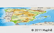 Physical Panoramic Map of Spain, shaded relief outside