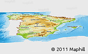 Physical Panoramic Map of Spain, single color outside