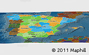 Political Panoramic Map of Spain, darken
