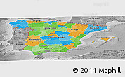 Political Panoramic Map of Spain, desaturated