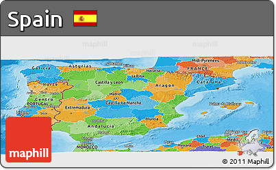 Political Panoramic Map of Spain