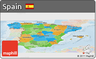 Political Panoramic Map of Spain, lighten