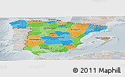 Political Panoramic Map of Spain, lighten, semi-desaturated