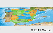 Political Panoramic Map of Spain, satellite outside, bathymetry sea