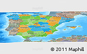 Political Panoramic Map of Spain, semi-desaturated, land only