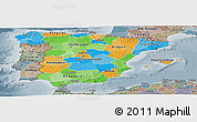 Political Panoramic Map of Spain, semi-desaturated