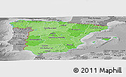 Political Shades Panoramic Map of Spain, desaturated