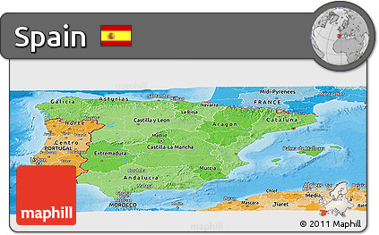 Political Shades Panoramic Map of Spain