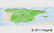 Political Shades Panoramic Map of Spain, lighten