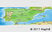 Political Shades Panoramic Map of Spain, physical outside