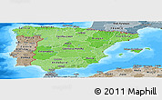 Political Shades Panoramic Map of Spain, semi-desaturated, land only