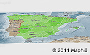 Political Shades Panoramic Map of Spain, semi-desaturated