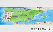Political Shades Panoramic Map of Spain, shaded relief outside, bathymetry sea