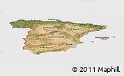 Satellite Panoramic Map of Spain, cropped outside