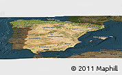 Satellite Panoramic Map of Spain, darken