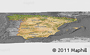 Satellite Panoramic Map of Spain, desaturated