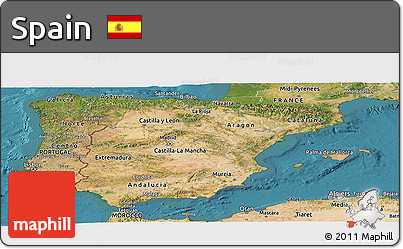 Satellite Panoramic Map of Spain