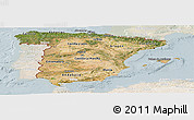 Satellite Panoramic Map of Spain, lighten