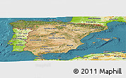 Satellite Panoramic Map of Spain, physical outside, satellite sea