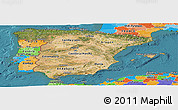 Satellite Panoramic Map of Spain, political outside, satellite sea