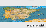 Satellite Panoramic Map of Spain, political shades outside, satellite sea
