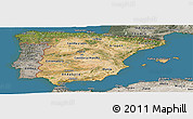 Satellite Panoramic Map of Spain, semi-desaturated, land only